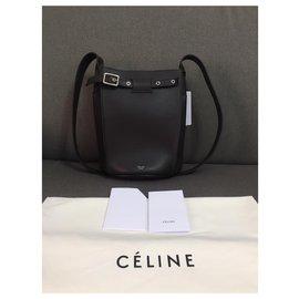 Céline-Celine sac seau big bag en veau lisse-Gris anthracite