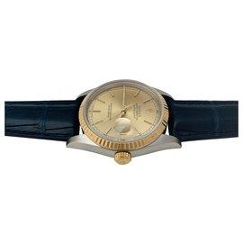 """Rolex-Montre Rolex modèle """"Datejust"""" en or jaune et acier sur cuir.-Autre"""