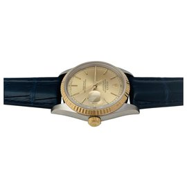 """Rolex-Rolex """"Datejust"""" watch in yellow gold and steel on leather.-Other"""