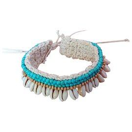 Autre Marque-Bracelet de cheville-Blanc cassé,Bleu clair