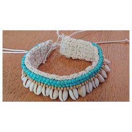 Autre Marque-Ankle bracelet-Eggshell,Light blue