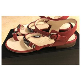 Chanel-Chanel red leather chain sandals  EU38.5-Red