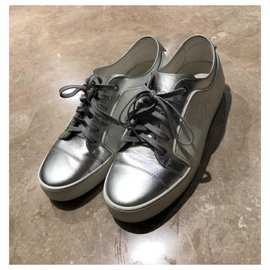 Chanel-Chanel Silver and white sneakers EU39-Silvery,White