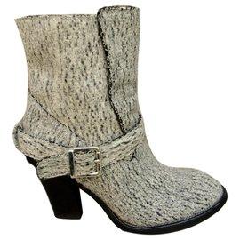 Chloé-Chloé leather and felt boots-Grey