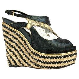 Christian Dior-Dior leather wedge sandals-Black,Beige,Golden