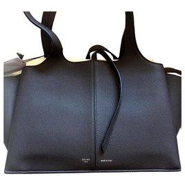 Céline-celine trifold black handbag sac new-Black