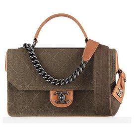 Chanel-CHANEL BAG HANDBAG lined STRAP CHAIN AND FABRIC-Brown