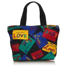 Yves Saint Laurent-YSL Black Love Printed Nylon Handbag-Black,Multiple colors