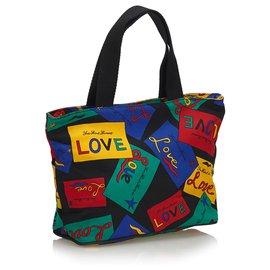 Yves Saint Laurent-YSL Black Love Bedruckte Nylonhandtasche-Schwarz,Mehrfarben