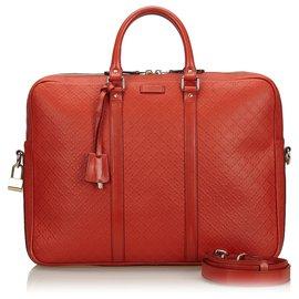 Gucci-Gucci Red Diamante Aktentasche aus Leder-Rot