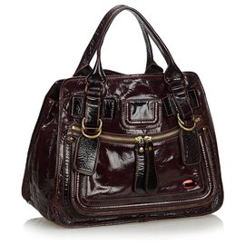 Chloé-Chloe Red Patent Leather Bay Tote Bag-Red,Dark red