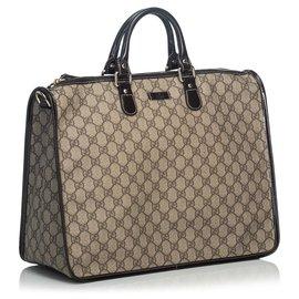 Gucci-Gucci Brown GG Porte-documents-Marron,Beige
