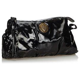 Gucci-Gucci Pochette Hysteria en cuir verni noir-Noir