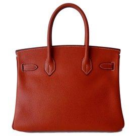 Hermès-Bolsa HERMES BIRKIN 30 tijolo-Caramelo,Cobre