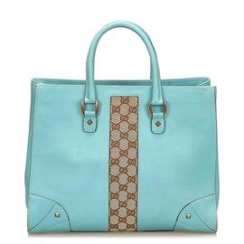 Gucci-Gucci Blue Nailhead Leather Tote Bag-Brown,Blue,Light brown,Light blue