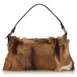 Fendi-Fendi Brown Fur Baguette-Brown,Beige,Dark brown