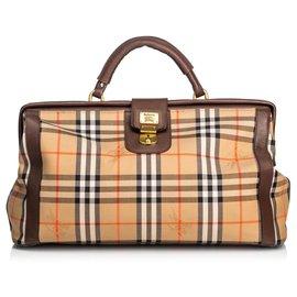 Burberry-Burberry Brown Haymarket Canvas Duffle Bag-Brown,Multiple colors,Beige