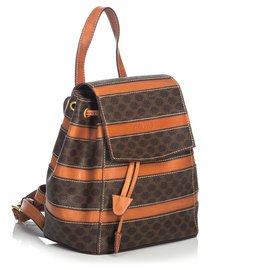 Céline-Celine Brown Macadam Drawstring Backpack-Brown
