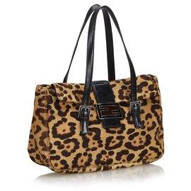 Fendi-Fendi Brown Leopard Print Pony Hair Handbag-Brown,Light brown,Dark brown