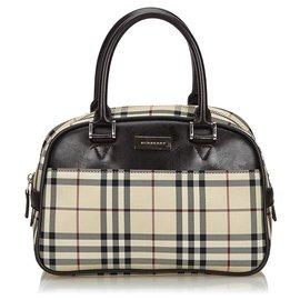 Burberry-Burberry Brown House Check Nylon Handbag-Brown,Multiple colors,Beige