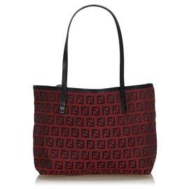 Fendi-Fendi Red Zucchino Canvas Tote Bag-Black,Red