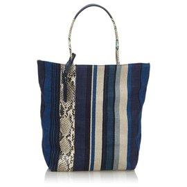 Yves Saint Laurent-YSL Blue Canvas Tote Bag-Blue,Multiple colors,Navy blue