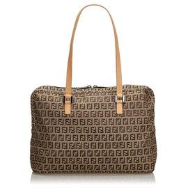 Fendi-Fendi Brown Zucchino Canvas Shoulder Bag-Brown,Light brown,Dark brown