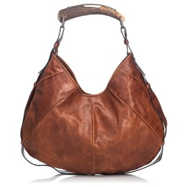 Yves Saint Laurent-Mombasa Hobo Bag aus braunem Leder von YSL-Braun,Dunkelbraun
