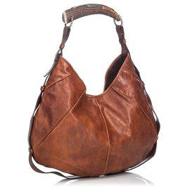 Yves Saint Laurent-YSL Brown Leather Mombasa Hobo Bag-Brown,Dark brown