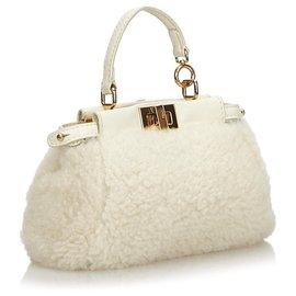 Fendi-Fendi White Shearling Micro Peekaboo Crossbody Bag-White,Cream