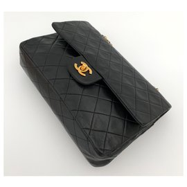 Chanel-TIMELESS 25 cm. cuir noir vintage-Noir