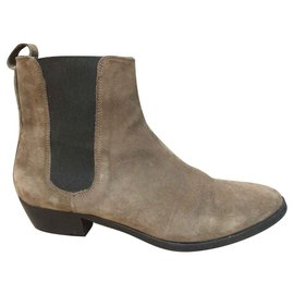 Burberry-chesea Burberry suede boot-Taupe