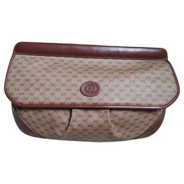 Gucci-Maxi clutch-Marron,Beige