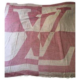 Louis Vuitton-Foulard/Écharpe Louis Vuitton Vintage-Rouge,Beige
