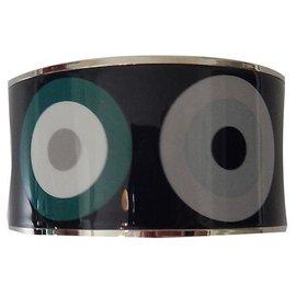 Hermès-Hermès bracelet in printed enamel, palladium finish. 6,5.-Multiple colors