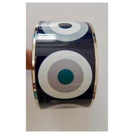 Hermès-Bracelet Hermès en émail imprimé, finition palladié. 6,5.-Multicolore