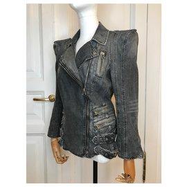 Balmain-Veste en jean à épaules rembourrées-Gris,Gris anthracite