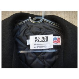 "Schott-Caban Schott 740 N Pea Jacket ""Made In Usa"" T 56-Noir"