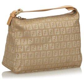 Fendi-Fendi Brown Zucchino Canvas Handbag-Brown,Beige