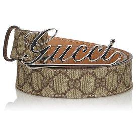 Gucci-Gucci Brown GG Supreme Ceinture-Marron,Beige