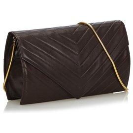 Yves Saint Laurent-YSL Black Chevron Leather Chain Crossbody Bag-Black