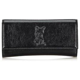 Yves Saint Laurent-YSL Black Belle du Jour Patent Leather Clutch Bag-Black