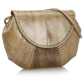 Yves Saint Laurent-YSL Brown Snakeskin Crossbody Bag-Brown,Beige,Dark brown