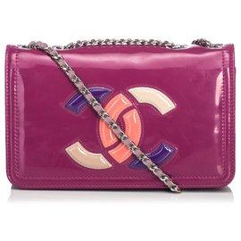 Chanel-Sac à bandoulière rouge à lèvres en cuir verni Chanel-Rouge,Multicolore