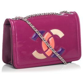 Chanel-Chanel Red Patent Leather Lipstick Shoulder Bag-Red,Multiple colors
