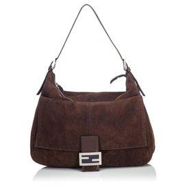 Fendi-Fendi Brown Suede Mamma Shoulder Bag-Brown,Dark brown