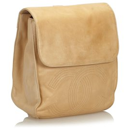 Chanel-Chanel Brown CC Lambskin Leather Backpack-Brown,Beige
