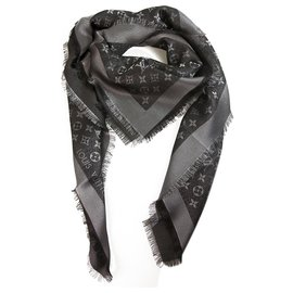 Louis Vuitton-Louis Vuitton monogram Shine black with silver shawl weaved jacquard silk M75123-Black