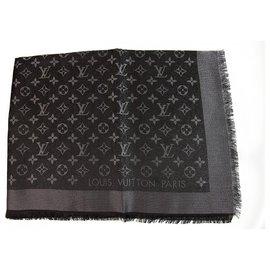 Louis Vuitton-Louis Vuitton monogram Shine noir avec soie jacquard tissé châle argent M75123-Noir