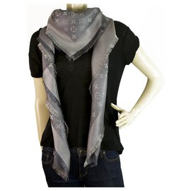 Louis Vuitton-Louis Vuitton monogram Shine Silver w. silver shawl weaved jacquard silk M75120-Silvery